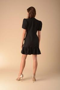 Black Dress with a Frill Fastened with Buttons