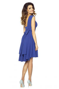 Blue Deep Back Prom Dress with Bow