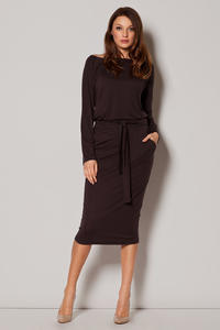 Brown Urban Style Monk Hip Dress