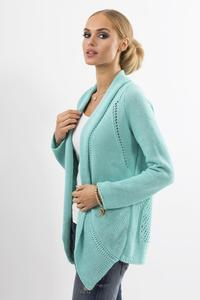 Mint Green Ajure Cardigan with Asymetrical Lapels