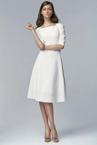 Ecru Dress with Square Neckline and Seam Bodice