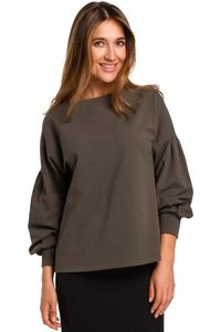 Olive Box Blouse with Puffy Sleeve
