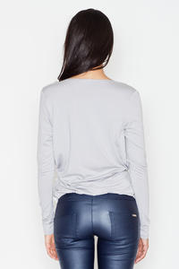 Dark Grey Long Sleeves V-Neckline Blouse