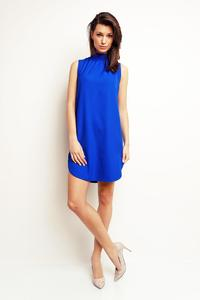 Cornflower Blue Sleeveless Tourtleneck Mini Dress