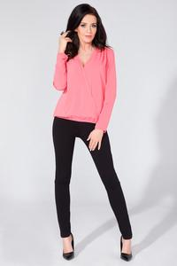 Pink Wrap Front Long Sleeves Blouse