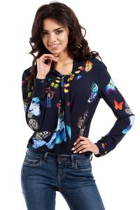 Dark Blue Butterfly Pattern Long Sleeves Blouse