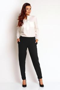 Black Tapered Legs Elastic Waist Casual Pants