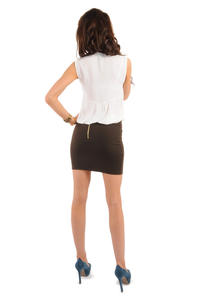 Brown Pencil Mini Skirt with Back Zip Fastening