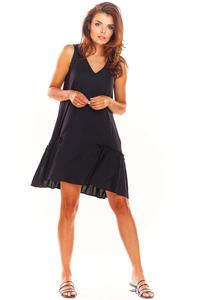 Black Loose Sleeveless Frill Dress