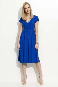 Blue Wrinkled Midi Dress