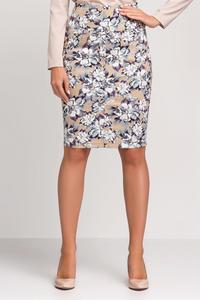 Beige&Purple Floral Pattern Pencil Dress