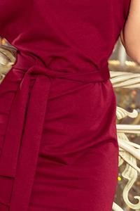 Burgundy Asymmetrical Dress with belt