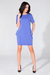 Blue Simple Mini Dress with Side Pockets