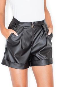 Black Eco-Leather High Rise Shorts