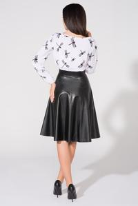 Black Flared Midi Eco-Leather Skirt
