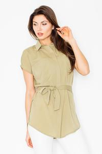 Olive Short Sleeves Short with Self Tie Belt