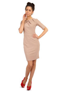 Cappuccino Pleated Neckline Belted Shift Dress