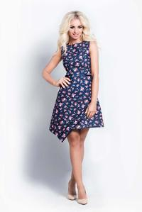 Floral Sleeveless Dress with Asymetrical Skirt