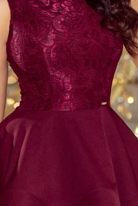 Maroon Double Flared Mini Party Dress