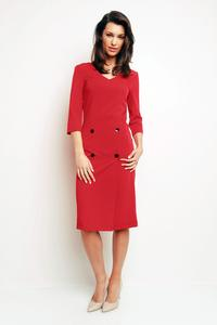 Red Office Style 3/4 Sleeves Dress with Buttons