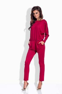 Maroon Bat Sleeves Jumpsuit