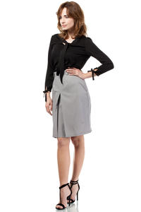 Grey Elegant Knee Lenght Double Fold Skirt