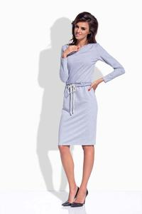 Light Grey Drawstring Waist Midi Dress