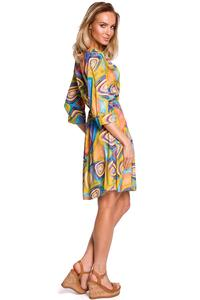 Patterned Flared Dress with Buttons - Model 2