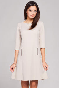 Beige High Tailored Executive Skater Dress