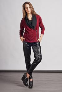 Maroon Unique Big Collar Zipper Closure Cardigan