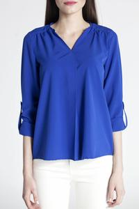 Cobalt Blue Rolled-up Sleeves Blouse