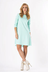 Mint Plain Long Sleeves Dress