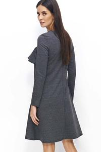 Dark Grey Flared Dress with a Frill