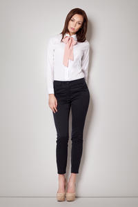 Pink Contrast Pussy Bow Seam Blouse with Cuffed Long Sleeves