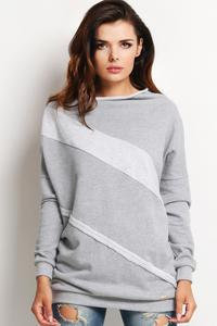 Grey Casual Fit Unique Collar Ladies Sweatshirt