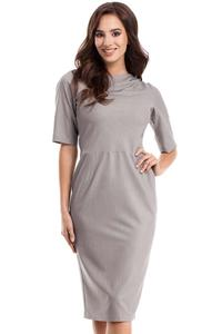 Grey Simple Pencil Style 1/2 Sleeves Dress