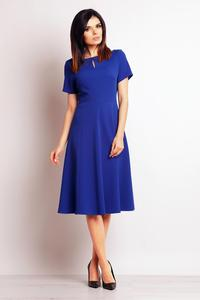 Blue Short Sleeves Flared Midi Dress