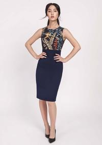 Navy Blue Classic Pencil Dress Made of Combined Materials