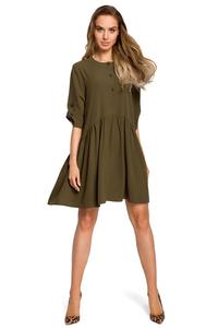 Khaki Buttons Closure Mini Dress