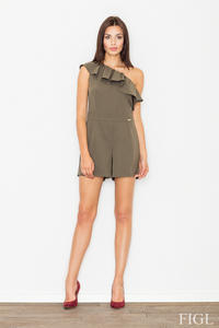 Olive Green Asymetrical Frilled Summer Jumpsuit