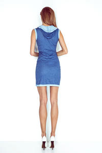 Blue Hooded Mini Dress