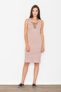 Pink Bodycon Lace-up Midi Dress