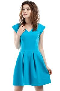 Blue Coctail Pleated V-Neckline Dress