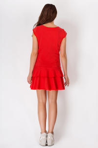 Red Casual Mini Dress with Frills