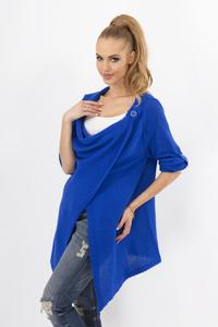 Blue Stylish One Button Rolled-up Sleeves Cardigan
