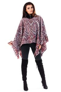 Maroon Aztec Patterns Poncho Sweater