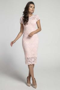 Pale Pink Pencil Midi Dress with V Neckline on the Back