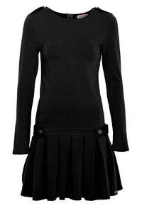 Black Casual Long Sleeves Pleated Mini Dress