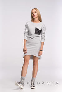 Light Grey Asymmetrical Casual Dress with Contrasting Pocket