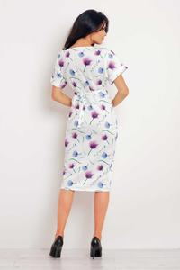 Purple Flowers Pattern Short Sleeves Midi Dress